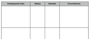 Area, Circumference, Radius and Diameter Matching Cards Handout