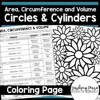 Area And Circumference Coloring Worksheet By Lindsay Perro Tpt