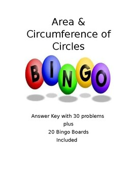 Area & Circumference of Circles Bingo with 20 pre-filled boards! Fun & Easy!!!