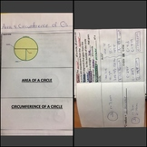 Area & Circumference of Circles Bundle Interactive Notebook Foldable, & Games