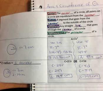 Area & Circumference of a Circle Interactive Notebook Foldable