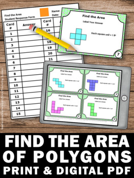 Find the Area Task Cards, 3rd Grade Math Review Games and Activities SCOOT