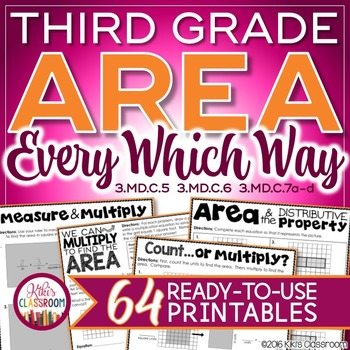 Area 3rd Grade Print & Go Pack - Includes Area & Distributive Property
