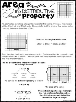 Area & Distributive Property - 3rd Grade | Area Activities | Area Worksheets