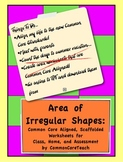 Area Common Core Worksheet: Irregular Shapes: Grade 3-5