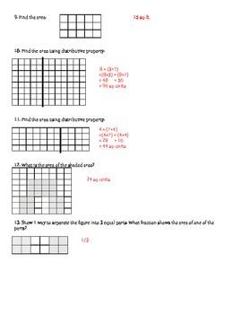 Area Concept Review Envision Math - 3rd grade