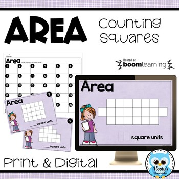 Counting Squares to Find Area Digital & Print Task Cards