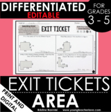 Area Exit Tickets - Differentiated Math Assessments - Area