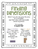 Area Finding Dimensions Worksheet