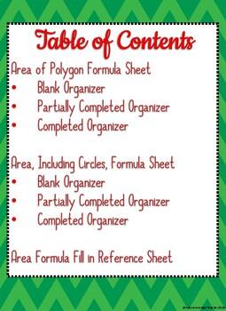 Area Formula Organizers