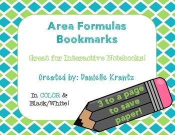 Area Formulas Bookmarks - FREE!