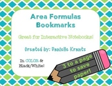 Area Formulas Bookmarks - FREE!