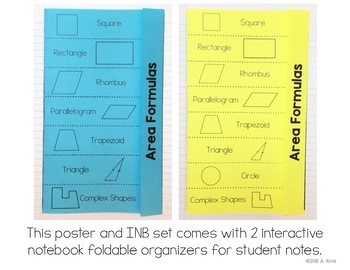 Area Formulas Posters and Interactive Notebook INB set