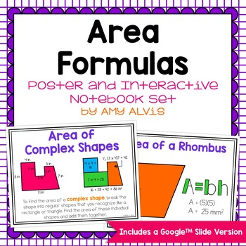 Area Formulas - posters and graphic organizer INB set