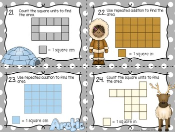 Area Game and Printables- Counting Square Units and Repeated Addition
