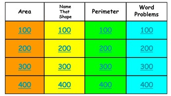 Area, Geometry, and Perimeter Review Game