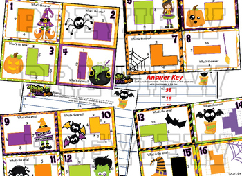 "Area - Halloween themed ""Monster Mash Area Bash"" Task cards"