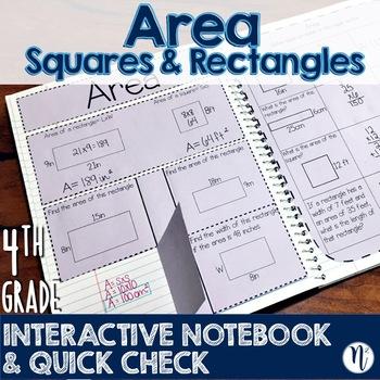 Area Interactive Notebook Activity & Quick Check TEKS 4.5D