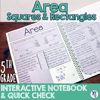 Area Interactive Notebook Activity & Quick Check TEKS 5.4H