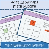 Area Labyrinths Distance Learning Math Puzzle Warmups