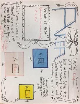 Area Math Doodle KEY