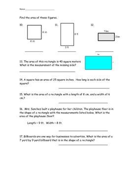 Area Math Quiz Test