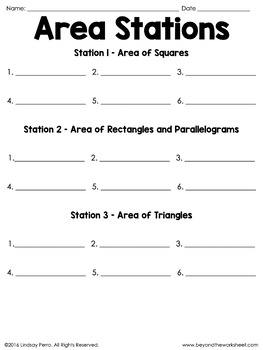 Area Middle School Math Stations
