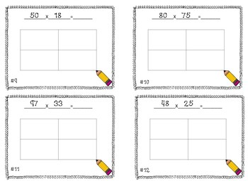 Area Model 2 by 2 Multiplication Task Cards/ Scoot