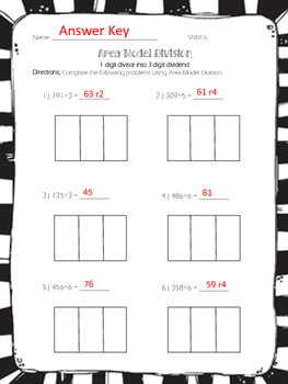 area model division practice worksheets by jumpingbeans tpt. Black Bedroom Furniture Sets. Home Design Ideas