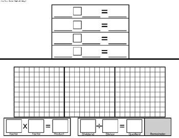 Area Model Division Template