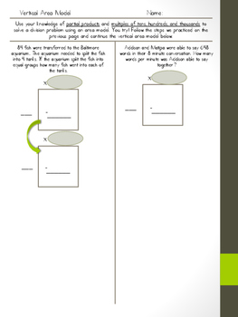 Area Model Division (Vertical Method)