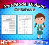 Distance Learning - Area Model Division Worksheets
