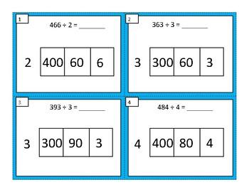 Area Model Divison Task Cards (3 digit by 1 digit)