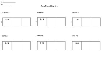 Area Model Division Worksheet | Teachers Pay Teachers