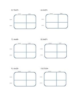 Area Model Double Digit Multiplication Worksheet by Brittaney Koontz