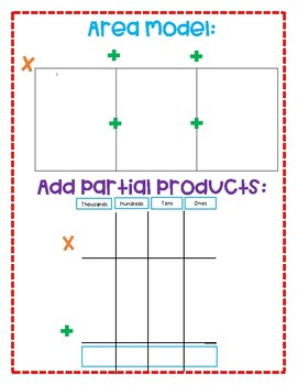 Area Model Dry Erase Template