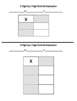 Area Model (Grid) Multiplication Graphic Organizer