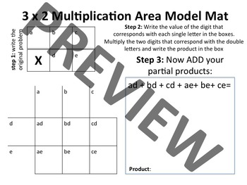 Area Model Mat 3x2 Multiplication