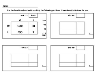 Area Model Method for Multiplication