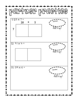 Area Model Multiplication: 2 x 1 Digit, Guided Notes and Exit Quiz