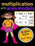 Area Model Multiplication: 2 x 1 Digit, Complete Lesson Packet & Exit Quiz