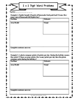 Area Model Multiplication: 2 x 2 Digit Word Problems, Guided Notes & Exit Quiz
