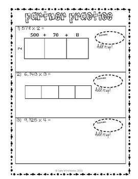 Area Model Multiplication: 3 x 1 and 4 x 1 Digits, Guided Notes and Exit Quiz