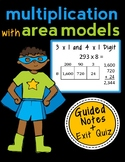Area Model Multiplication: 3 x 1 & 4 x 1, Complete Lesson Packet & Exit Quiz