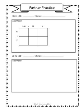 Area Model Multiplication: 3 x 2 Digits, Guided Notes and Exit Quiz