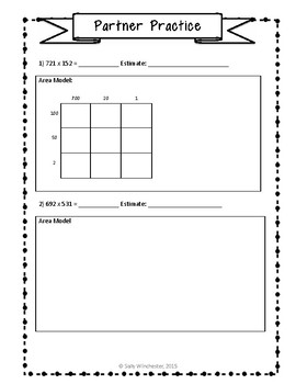 Area Model Multiplication: 3 x 3 Digits, Guided Notes and Exit Quiz