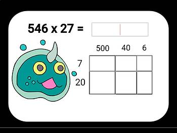 Area Model Multiplication Digital Boom Cards with 2 and 3 digit factors