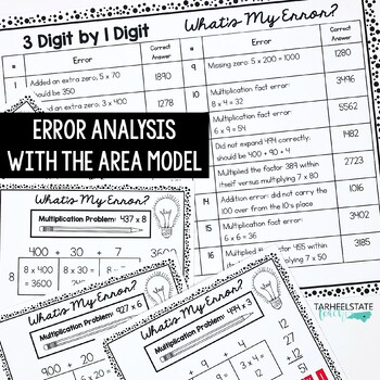 Multiply Whole Numbers with the Area Model for Error Analysis Task Cards