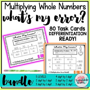 Area Model Multiplication Multiply Whole Numbers Task Cards