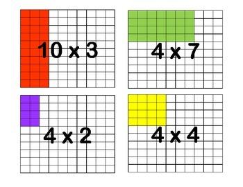 Area Model Multiplication Flashcards for Arrays, Multiplication & Division